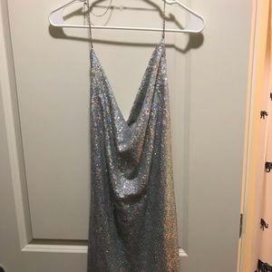 Sequined swing neck dress